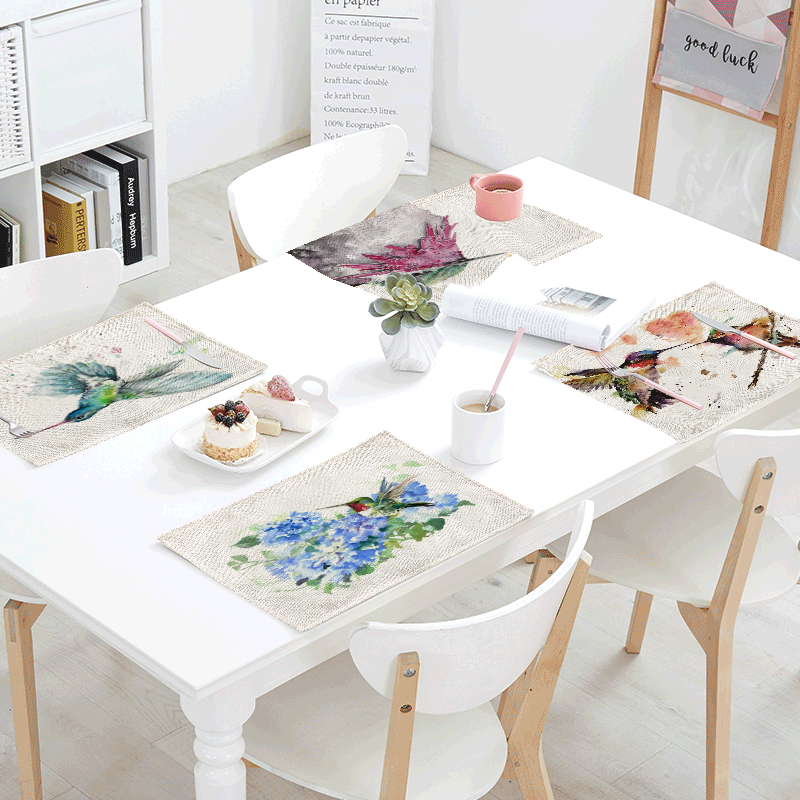 Lovely Watercolor Painted Hummingbird Table Mat Colorful Feathers Table Napkin Placemat Kitchen Decor Dining Accessories 42x32cm