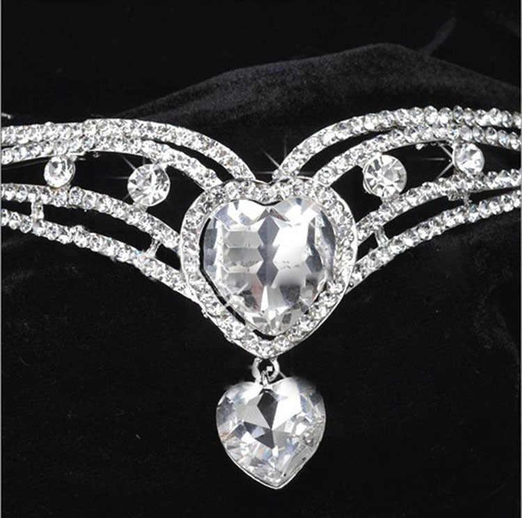 HIMSTORY Heart Drop Shinny Rhinestone คริสตัลเจ้าสาว Frontlet อุปกรณ์เสริมผมเครื่องประดับงานแต่งงานเครื่องประดับ