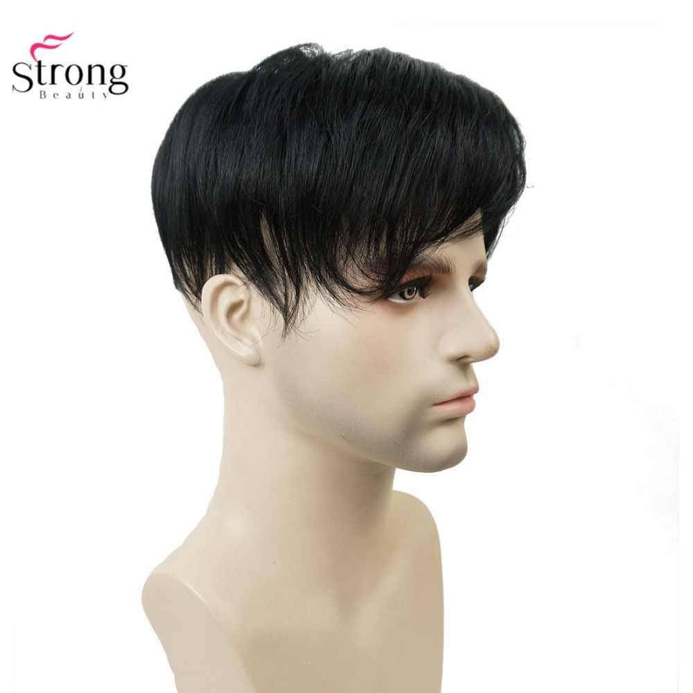 StrongBeauty Toupee Men Wig Short Straight Hair fo Men's Toupees Hairpiece
