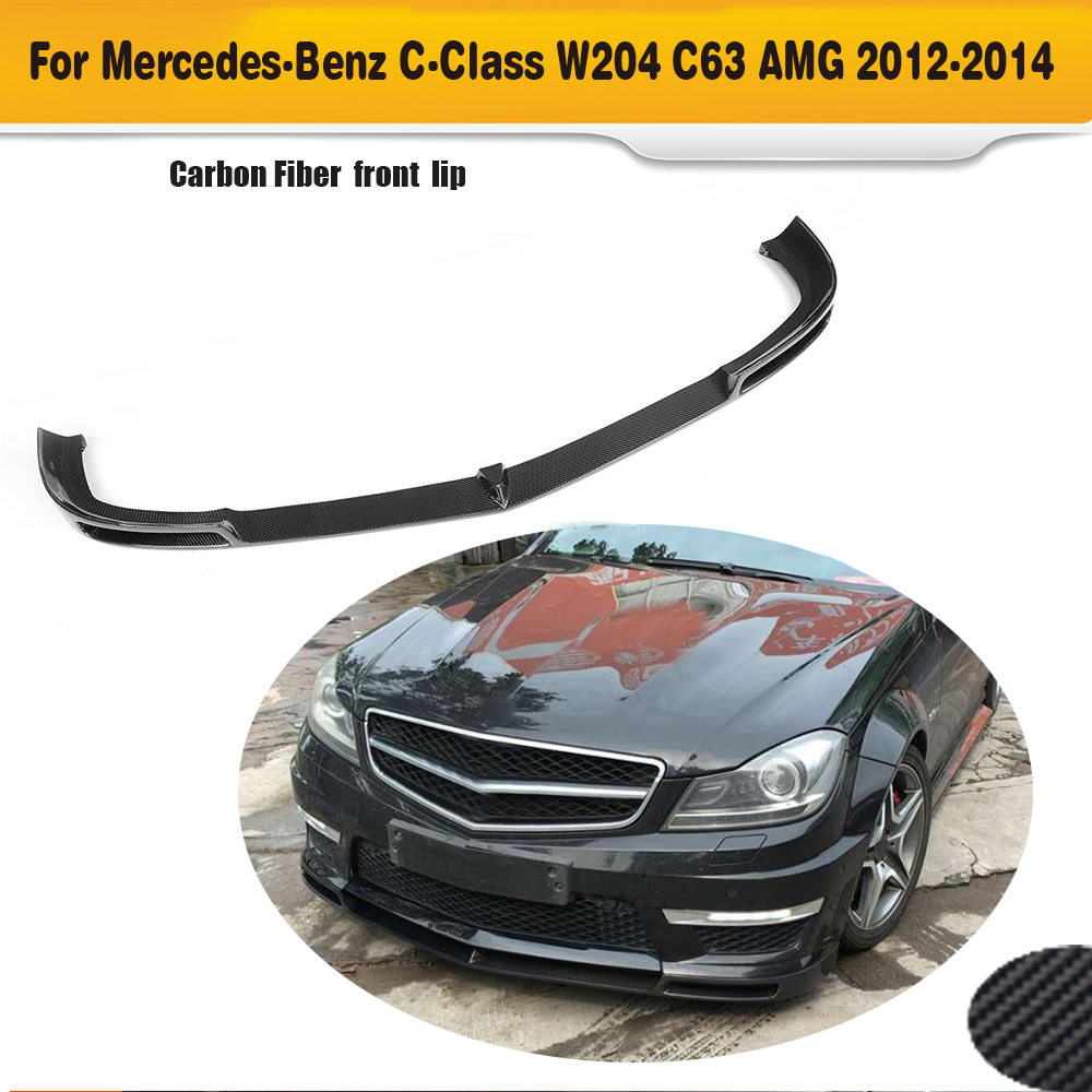 C Class Carbon Fiber Car bumper spoiler front lip spoiler for Mercedes Benz W204 C204 C63 Only AMG 2012 2013 2014 V Style