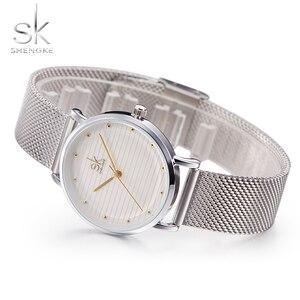 Image 5 - Shengke מותג אופנה שעוני יד נשים נירוסטה בנד נשים שמלה שעונים נשים קוורץ שעון Relogio Feminino החדש SK