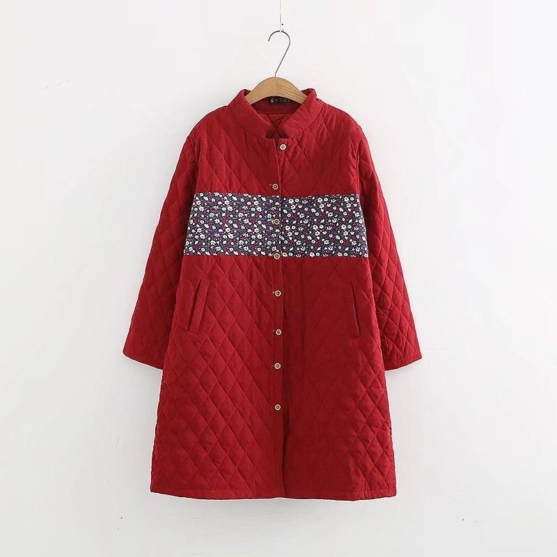Plus Size Autumn Women Long Light Jackets Coats Chic Long Sleeve Single Breasted Floral Folk Women Padded Coat Parkas