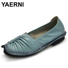 YAERNI Fashion Loafers Women Shoes Genuine Leather Shoes Handmade Soft Comfortable Flat Shoes Woman Casual Shoes Women Flats