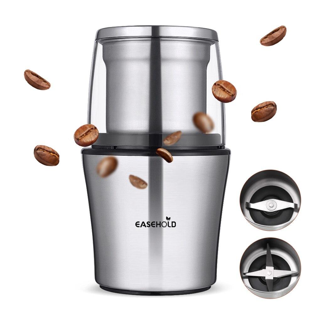 Easehold 200 watt Elektrische Kaffeemühle Edelstahl Körper Große Kapazität für Salz Pfeffer Grinder Leistungsstarke bean Schleifen Maschine