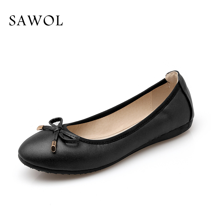 Sawol Women Flats Spring Autumn Brand Women Shoes Women Sneakers Shallow Soft Round Toe Female Casual Shoes Plus Big Size new 2017 spring summer women shoes pointed toe high quality brand fashion womens flats ladies plus size 41 sweet flock t179