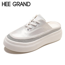HEE GRAND 2018 New Fashion Flats Women Oxfords Soft PU Leather Solid Causal Slip-on Lace-up British Style Shoes XWD6957
