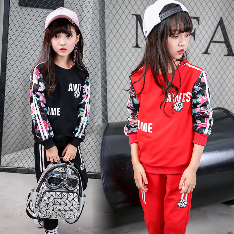 Girls autumn suits 2018 new style big children fashion printed two sets of long sleeved leisure sports suit