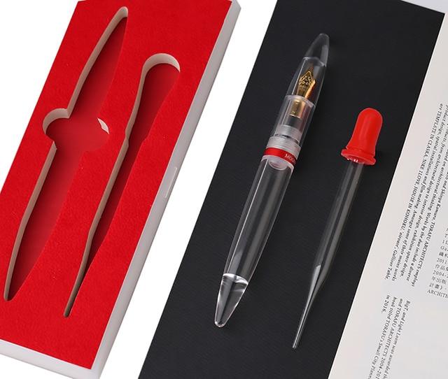 Moonman M2 شفاف بالكامل قطارة قلم حبر سعة كبيرة تخزين الحبر إيريديوم نقطة EF/F بنك الاستثمار القومي موضة الكتابة طقم هدايا