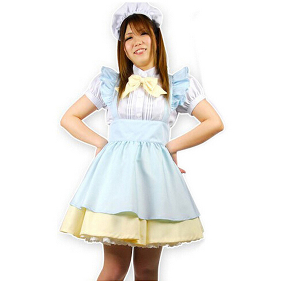 White apron alice in wonderland - Hot Sale Alice In Wonderland Costume Lolita Dress With Bow Maid Cosplay Fantasia Carnival Halloween Costumes