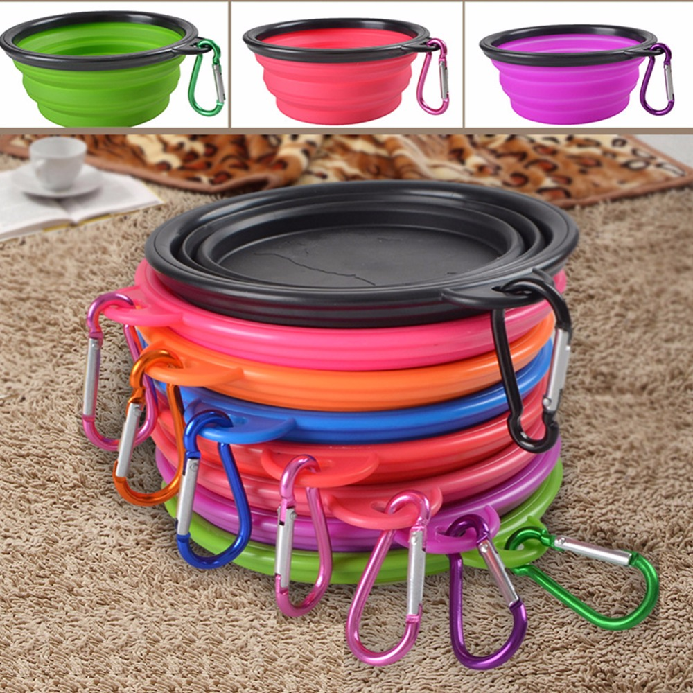 2PCS Portable Silicone Pet Dog Cat Feeding Bowl Foldable Food Water Dish Feeder Puppy Travel Outdoor Bowls With Carabiner