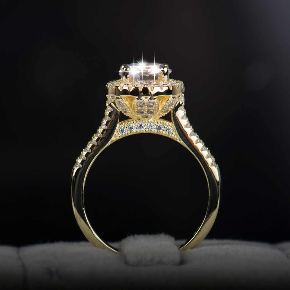 2018 mới Fasion trang sức thực Nhẫn bạc 925 Vàng Cổ Điển Màu cưới, Nhẫn AAAAA Cubic zircon dành cho nữ