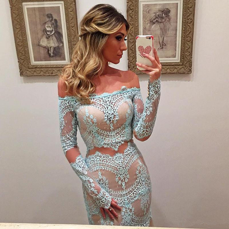 Prom-Dresses Prom-Gown Turquoise Robe-De-Soiree Mermaid Long-Sleeves Party Lace Maxys title=