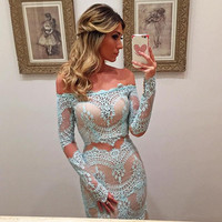 Turquoise 2019 Prom Dresses Mermaid Long Sleeves Sleeves Lace Party Maxys Long Prom Gown Evening Dresses Robe De Soiree