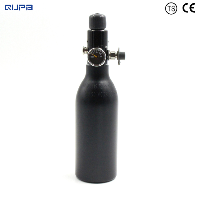QUPB PCP Paintball High Pressure Cylinder 0.2L 4500PSI HPA Aluminium Air Tank w/ Regulator 5/8 18UNF 60MM Diameter TKU020