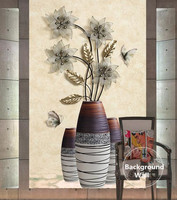 Custom Wall Mural Modern Style 3D Black Flowers Vase Living Room TV Background Bedroom Hallway Bathroom