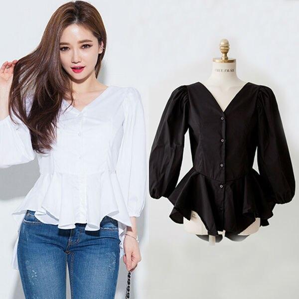 Peplum top White shirt for women black shirt women s blusas femininas  Camisas Roupas black blouse camisas femininas WD012-in Blouses   Shirts  from Women s ... 1d019d0db2bf