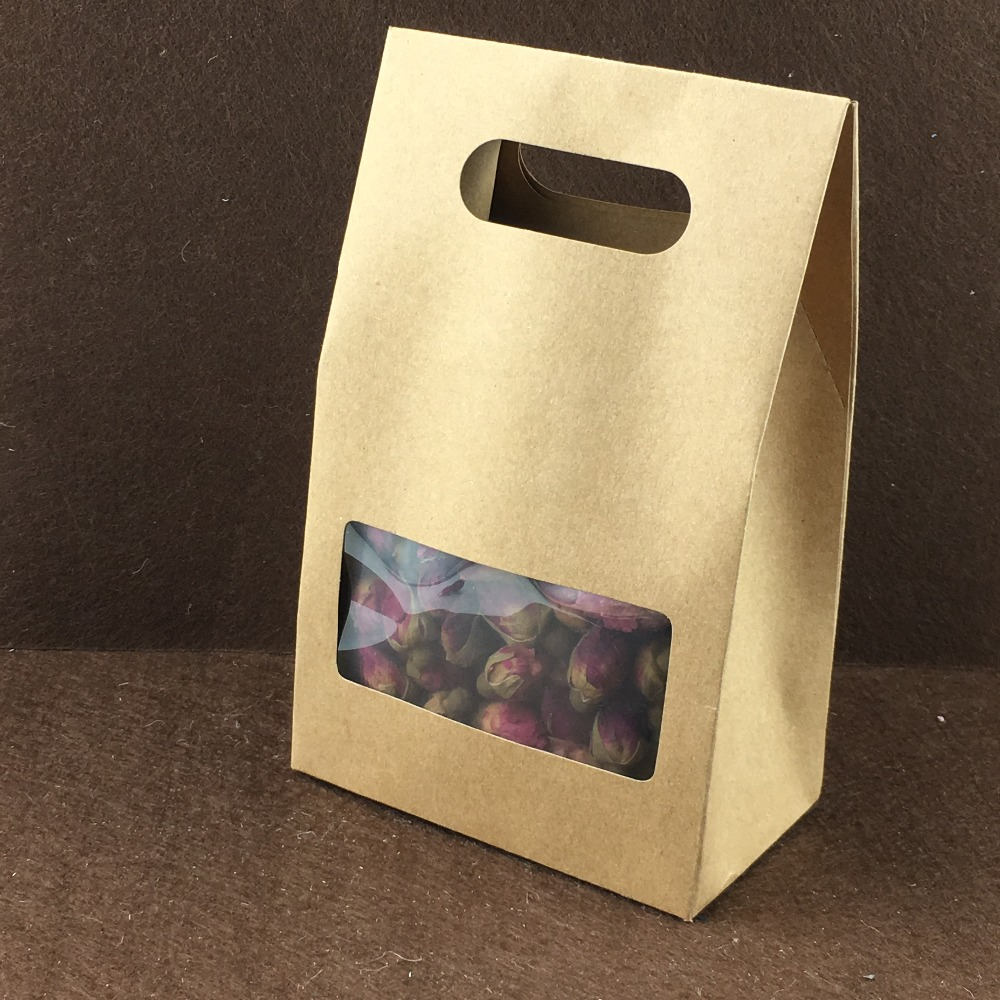 50PCS 10*6*16cm stand up brown kraft paper bags boxes recyclable for wedding/Gift/Jewelry/Food/Cookie/Candy Package Paper Box