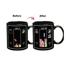 New Magic Color Changing Mugs Heat Sensitive Cup Tetris Handgrip Ceramic Magical Temperature Changing Coffee Mug Gifts
