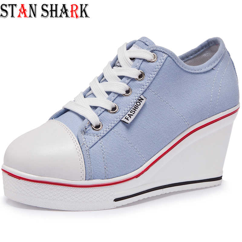 Women Vulcanize Wedges Shoes Platform Breathable Canvas Shoes Woman Wedge Sneakers Candy Color Students Casual Canvas Shoes