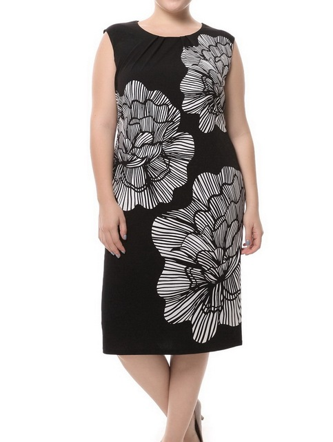 Chicwe Women s Lined Plus Size Floral Printed Sleeveless Black Dress with Ivory  Flower Large Size Big Size 7db835028e
