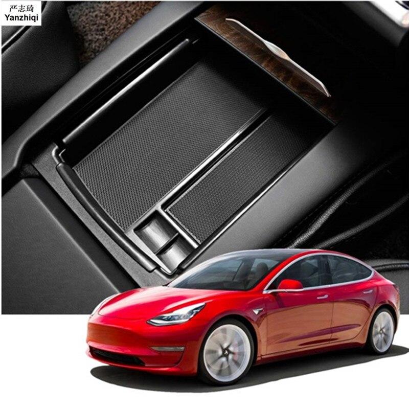 ABS 1 Center pc Titular Container Organizador Caixa De Armazenamento Do Console Apoio de Braço Carro Acessório para Tesla Model 3