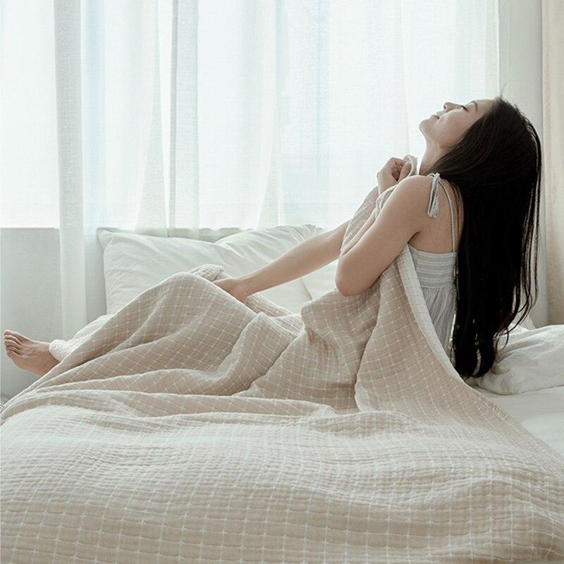 ガーゼ毛布スローソフトとコージー 100% 綿ベッドカバー夏の空調室薄型毛布クイーンキングサイズ  グループ上の ホーム&ガーデン からの 毛布 の中 3