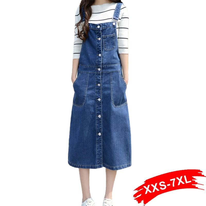 992ff8501b6b2 2018 Plus Size Denim Suspender Skirt for Women 5XL 3XL Long Slim Casual  Sexy Button Front A-line High Waist Jeans Skirts Womens