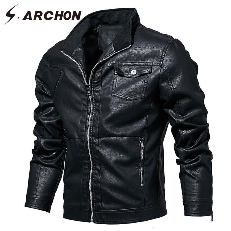 S.ARCHON New Spring Autumn PU Leather Men Bomber Jacket Military Motorcycle Male Clothes Jacket Casual Pilot Leather Coat Jacket