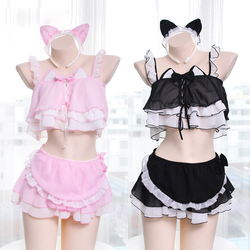 SO Kawaii Sexy Women Lingerie Set Lolita Intimates Set Anime Cosplay Costume Cat Girls Ruffle Camisoles Underwear