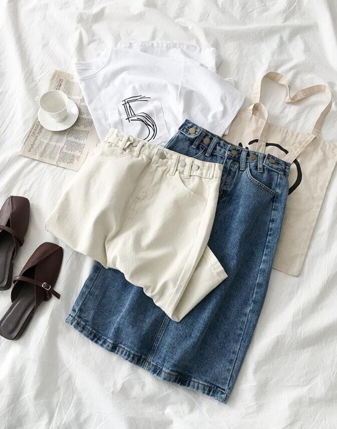 19 Women High Waist White Denim Skirt Split Jeans Skirt For Women Summer Pencil White Denim Skirts 5