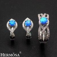 Amazing Grace Wedding Jewelry Blue Fire Australian Opal 925 Sterling Silver Earrings Ring Sets Size 8 Pretty Women Party Gift