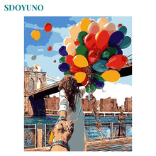 SDOYUNO Painting By Numbers Colorful Balloons DIY Gift Paint For Adults Wall Decor Canvas Coloring Number