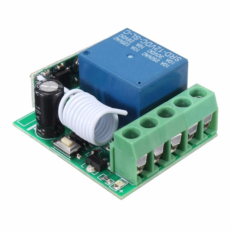 100M DC 12V 10A 1Ch Wireless Relay RF Remote Control Switch Heterodyne Receiver 315MHZ dc m клемма