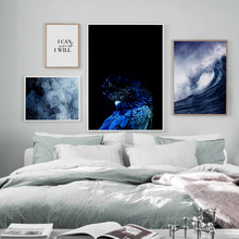 Gorgeous Blue Parrot Fog Sea Quotes Wall Art Canvas Painting Landscape Nordic Posters And Prints Pictures For Living Room