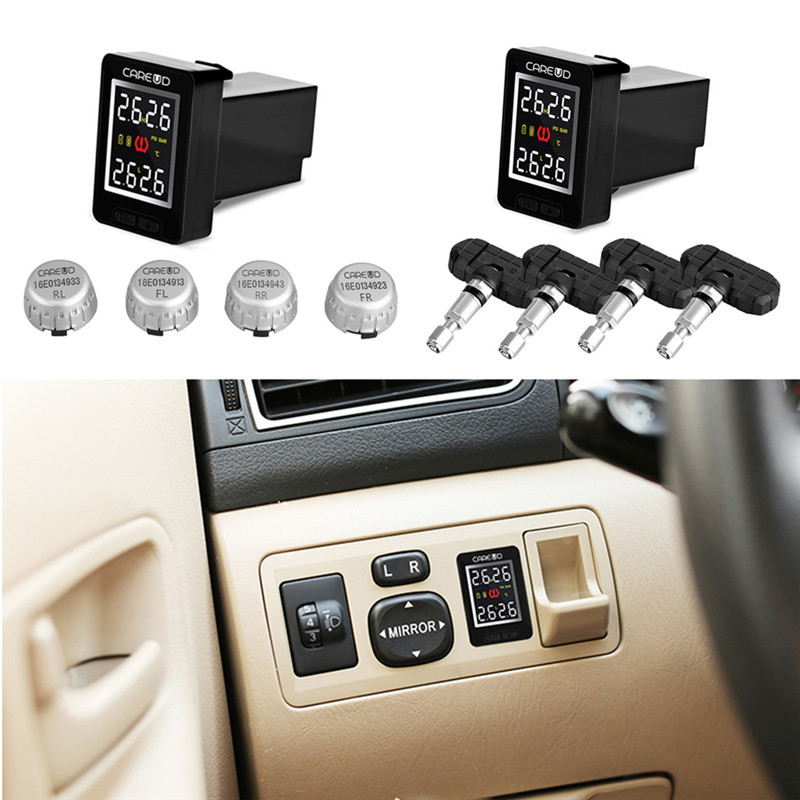 U912 TPMS Car Tire Pressure Wireless Monitoring System 4 External Sensors and LCD Display Embedded Monitor for Toyota u912 car tpms wireless auto tire pressure monitoring system 4 sensors lcd embedded monitor for toyota honda