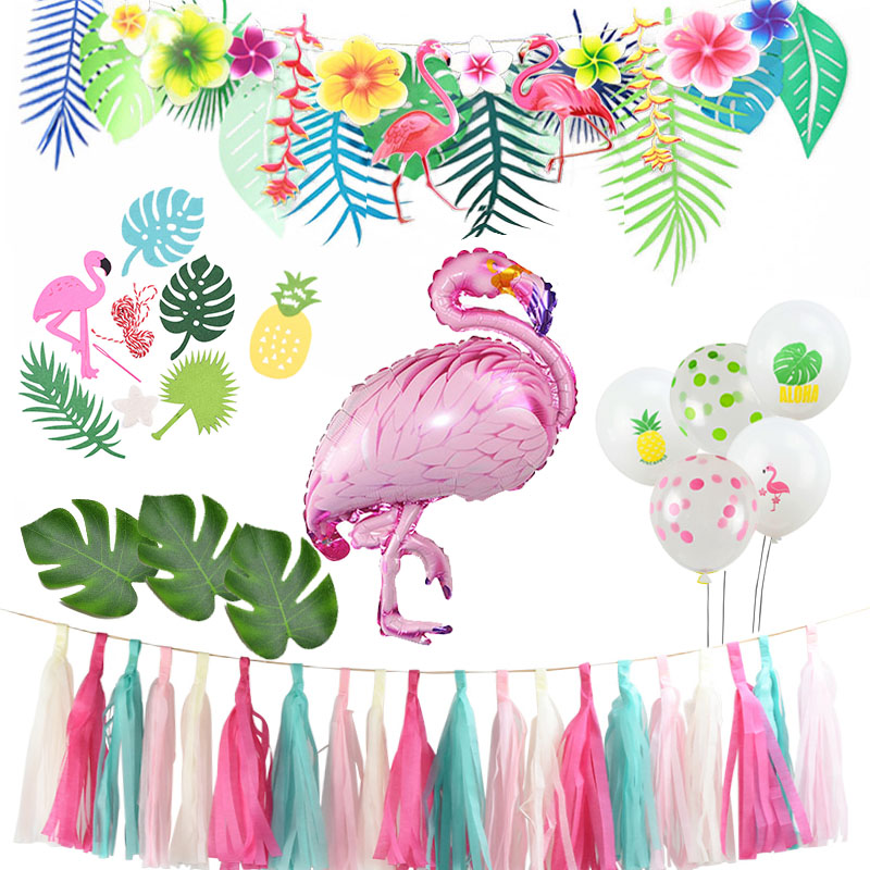 Summer Tropical Luau Party Aloha Banner Bunting Garlands Hawaiian Beach Theme Birthday Party Decoration Kids For Flamingo Party