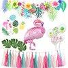 Guirnalda de pancartas Tropical para fiesta de verano, decoración de fiesta de cumpleaños para niños, flamenco, Playa hawaiana