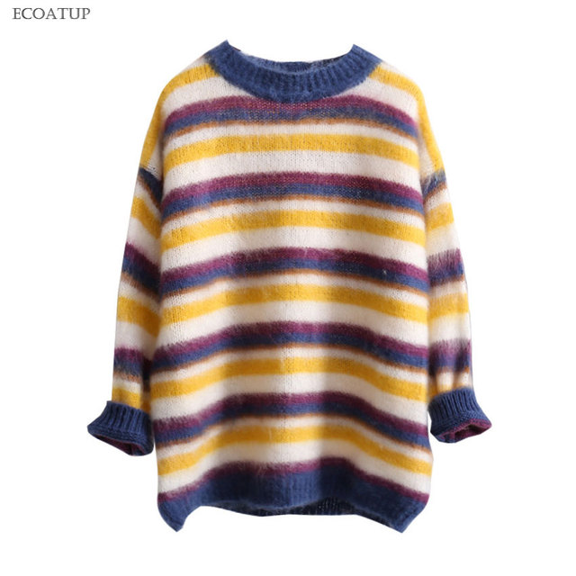 33e8b5e46f5e3 Thick Sweater Women Round Crew Neck Drop Shoulder Long Sleeve Colorful  Striped Pullovers Soft Mohair Knit Jumper Female Sweater