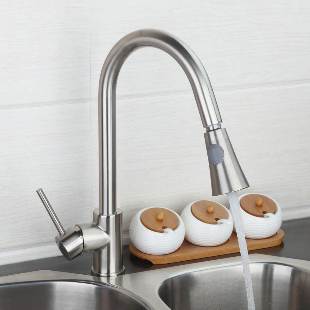 ФОТО BEST Nickel Brushed Kitchen Pull out Faucet Luxury Type Washbasin Sink Mixer Tap with Double Water Way Spray torneira