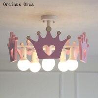 Мультяшная креативная розовая Корона, люстра для девочек, спальни, принцессы, детская комната, лампа, современный простой светодиодный, цве