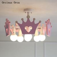 Cartoon creative pink crown chandelier Girl Bedroom Princess Room children's room lamp modern simple LED color Chandelier