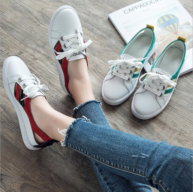 High quality women sneakers sport shoes 2018 spring and summer new white shoes leather hollow student flat floor shoes INS23