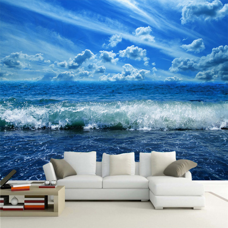 Papel De Parede 3D Wall Mural Wallpaper Custom Blue Sky Sea Wave Nature Scenery Photo 3D Panel Wall Living Room Bedroom Frescoes custom children wallpaper multicolored crayons 3d cartoon mural for living room bedroom hotel backdrop vinyl papel de parede