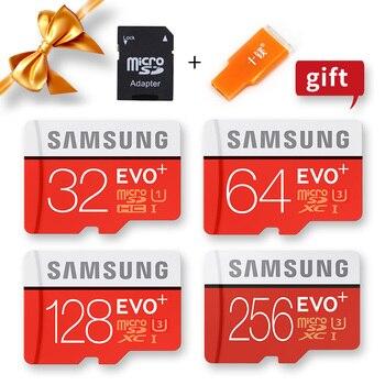 بطاقة Samsung Microsd 256G 128GB 64GB 32GB 16GB 8GB 100Mb / s Class10 U3 U1 SDXC Grade EVO + Micro SD Card Memory Card TF Flash Card 1