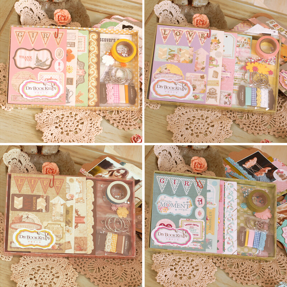 Yw scrapbook paper - Creative Diy Scrapbook Mini Album For Gift 3 Ring Binding Girl Love Theme Chipboard
