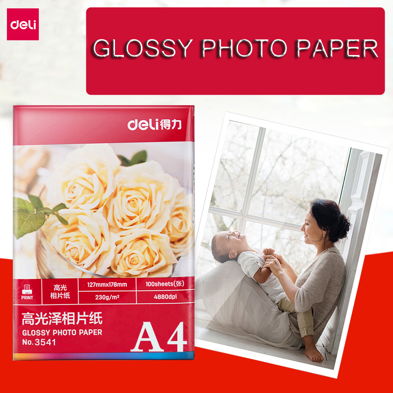 Deli 20 Sheets Glossy Photo Paper A4 Size 200g for Inkjet Printer Photo Studio Photographer Imaging Printing Paper Office Tools image