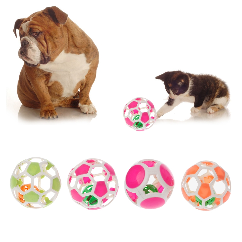 Plastic Pet Cat Toys With Small Bell Diameter 10cm Colorful Play Ball Sound Toy