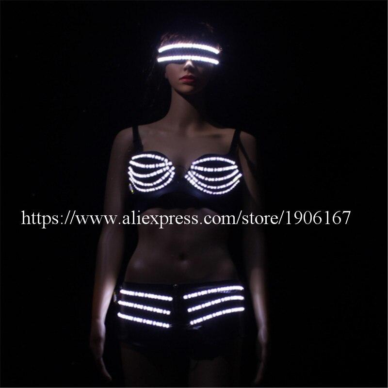 ab0c71c3 US $299.0 |New Arrival glasse biustonosz spodnie stroje taneczne pani  świetlny LED sukienka dla ballroom bar dj disco party event piosenkarka  sexy ...