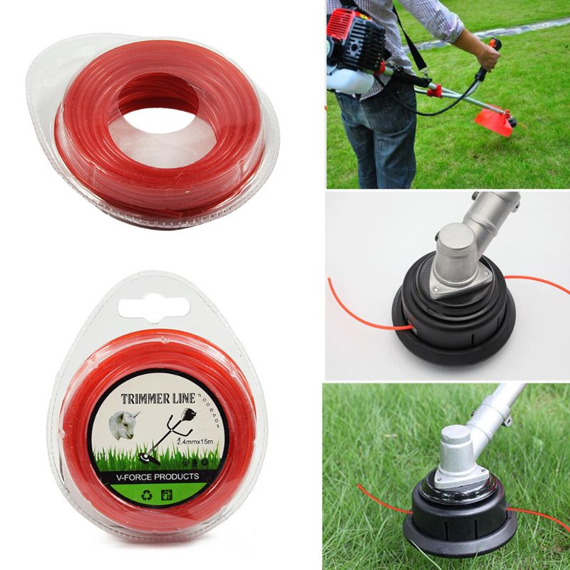 2.4mm×15m Grass Cut Strimmer Line Round Nylon Cord Wire String For Grass Trimmer
