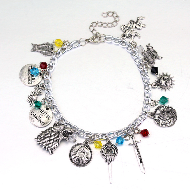 Of Thrones Charm Bracelet House Banners 7 Kingdoms Nights Watch Dragons Stark Alloy Metal Silver